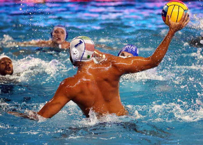 Vincenzo Renzuto (Italy) during the match between Italy and Russia, corresponding to the women group stage of the European Water Polo Championship, on 19th July, 2018, in Barcelona, Spain.   -- (Photo by Urbanandsport/NurPhoto via Getty Images)